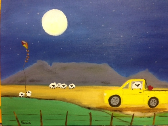 His bakkie and mountain  22 x 30 cm