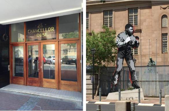 In this small building was the office of the law practice of Nelson Mandela & Oliver Tambo. Statue of Mandela the boxer in front of the Magistrate's Court